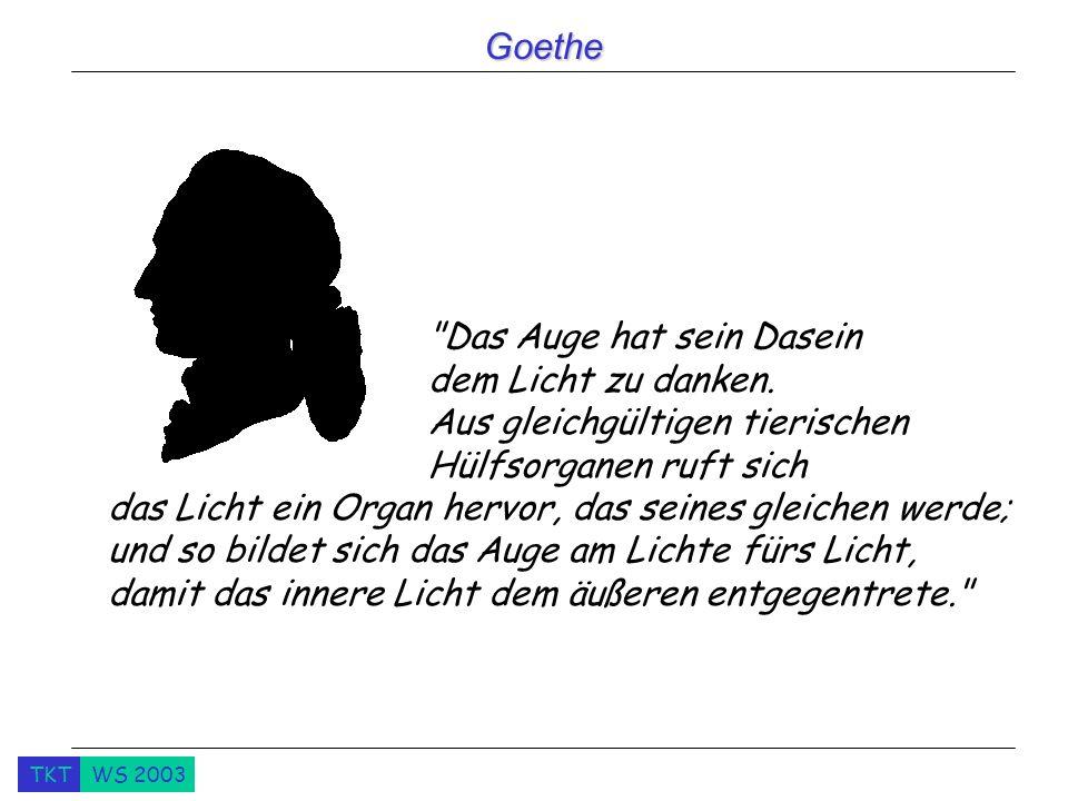TKTWS 2003 Goethe Das Auge hat sein Dasein dem Licht zu danken.
