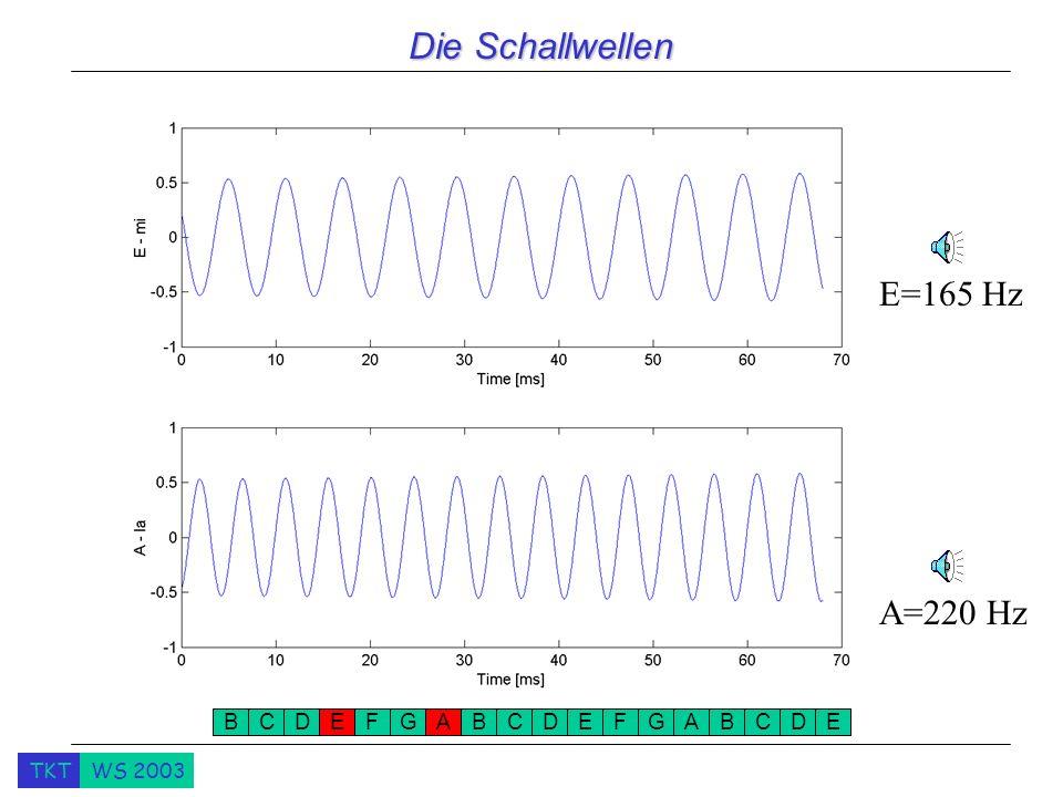TKTWS 2003 Die Schallwellen A=220 Hz E=165 Hz BCDEFGABCDEFGABCDE