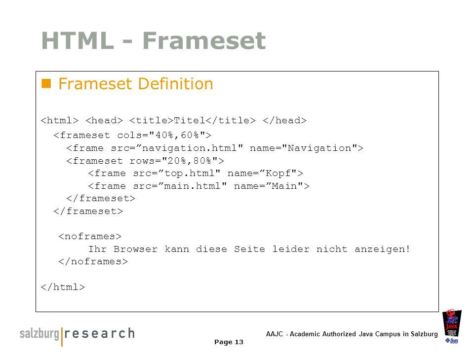 AAJC - Academic Authorized Java Campus in Salzburg Page 13 HTML - Frameset Frameset Definition Titel Ihr Browser kann diese Seite leider nicht anzeige