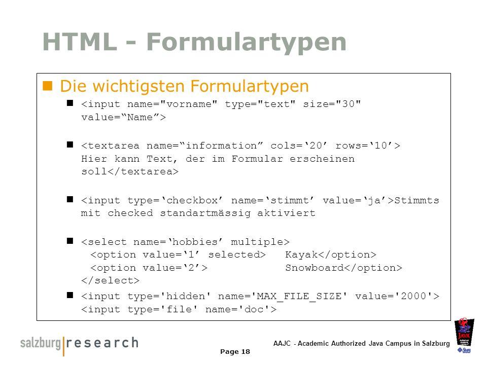 AAJC - Academic Authorized Java Campus in Salzburg Page 18 HTML - Formulartypen Die wichtigsten Formulartypen Hier kann Text, der im Formular erschein
