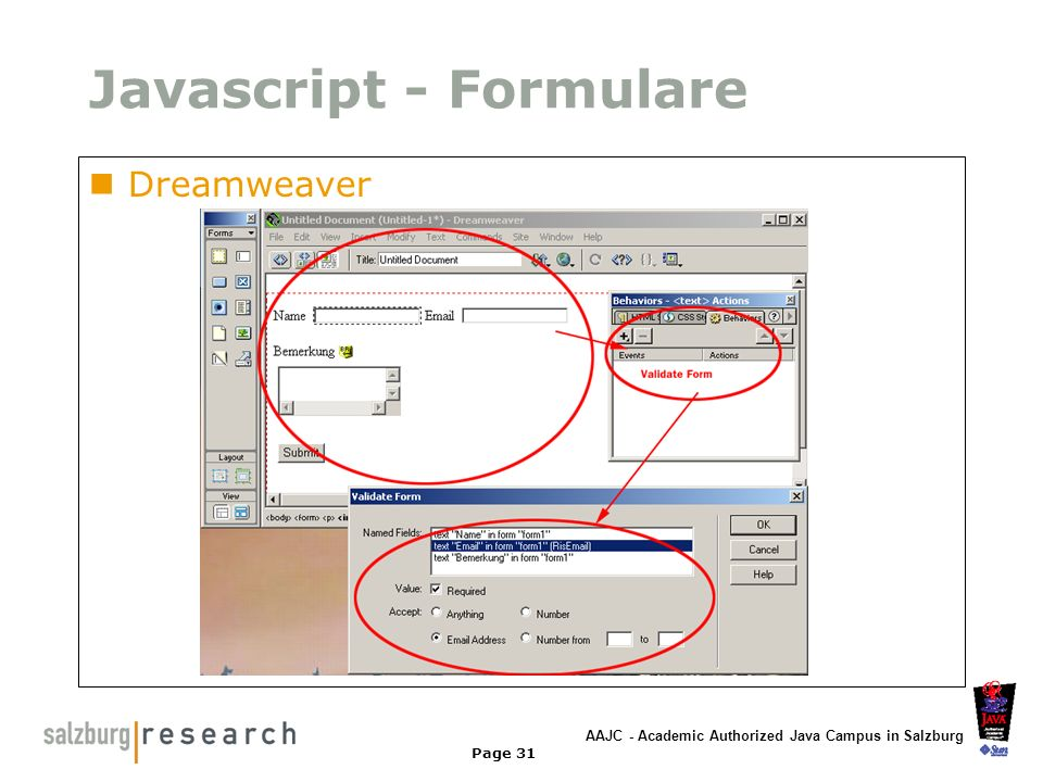 AAJC - Academic Authorized Java Campus in Salzburg Page 31 Javascript - Formulare Dreamweaver