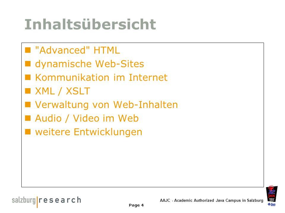 AAJC - Academic Authorized Java Campus in Salzburg Page 5 Zielsetzung - LB Das Endprodukt soll ein Webauftritt zum WellFitTV sein online Programm basierend auf Java & XML Clips mit Textbeschreibung Metainformationen zum Video Video Suchfunktion für Clips Diskussionsforum und/oder Chat Allgemeine Informationen zum Channel