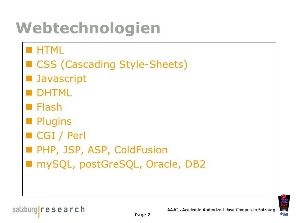 AAJC - Academic Authorized Java Campus in Salzburg Page 8 HTML Basics HTML - HyperText Markup Language Seitenbeschreibungssprache für Texte, Grafiken, eingebundene Elemente (Video, Musik, Flash) Schema Inhalt Beispiel: Überschrift HTML & WWW