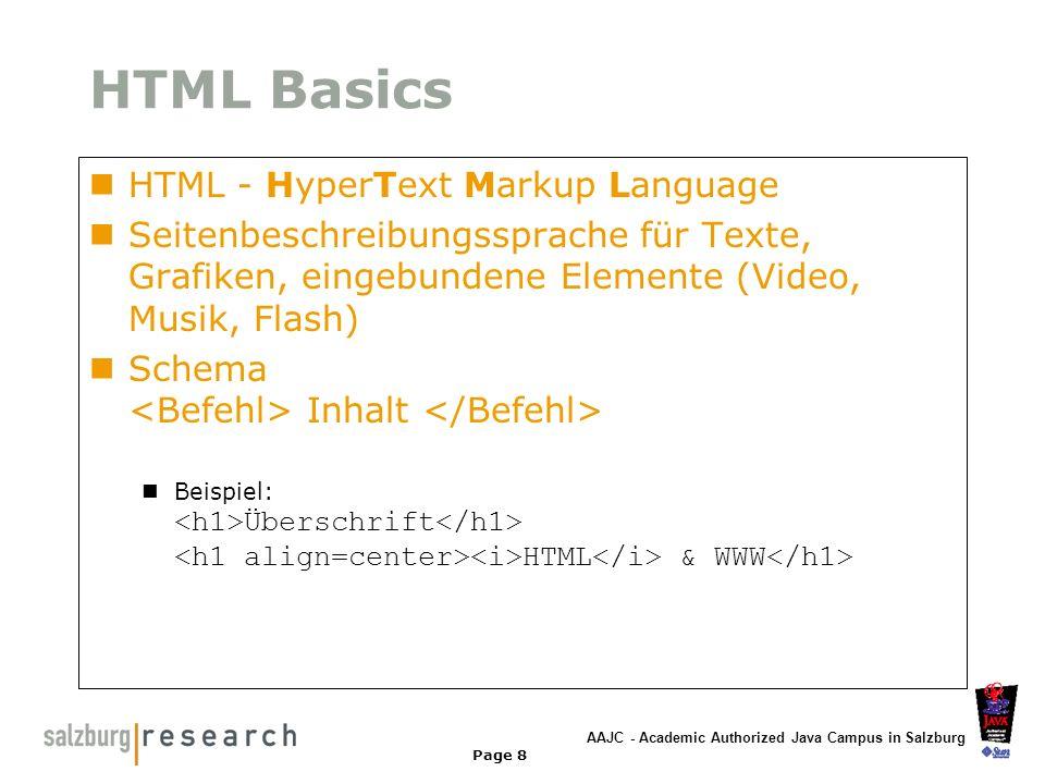 AAJC - Academic Authorized Java Campus in Salzburg Page 8 HTML Basics HTML - HyperText Markup Language Seitenbeschreibungssprache für Texte, Grafiken,