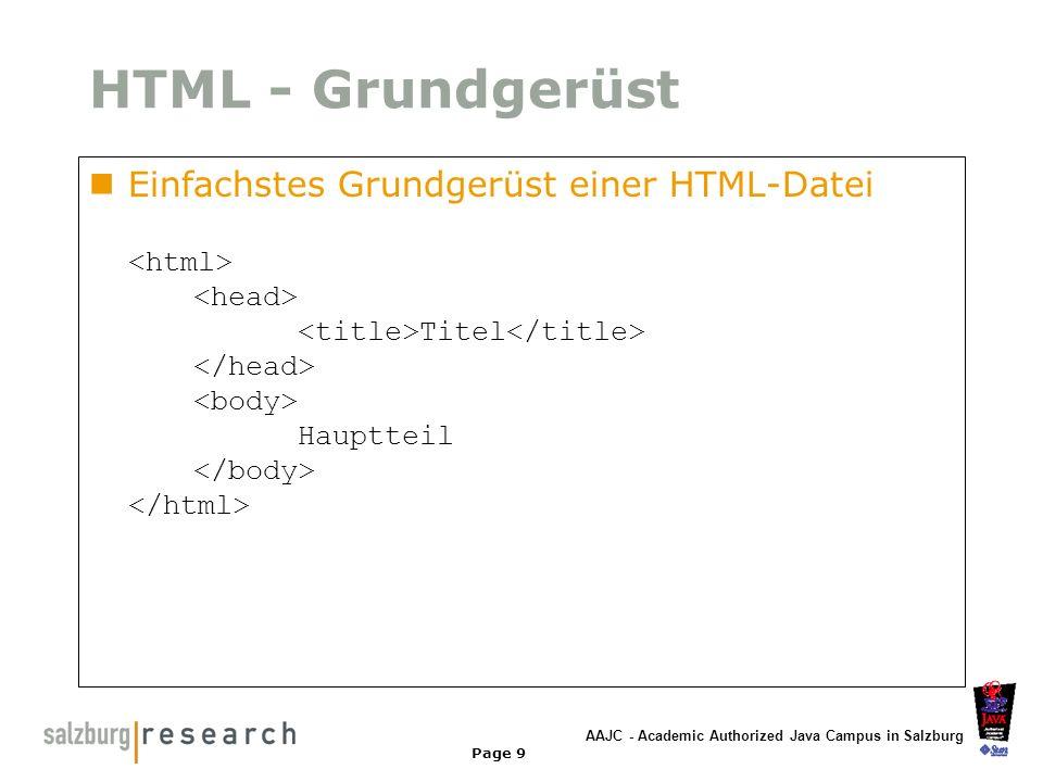 AAJC - Academic Authorized Java Campus in Salzburg Page 9 HTML - Grundgerüst Einfachstes Grundgerüst einer HTML-Datei Titel Hauptteil