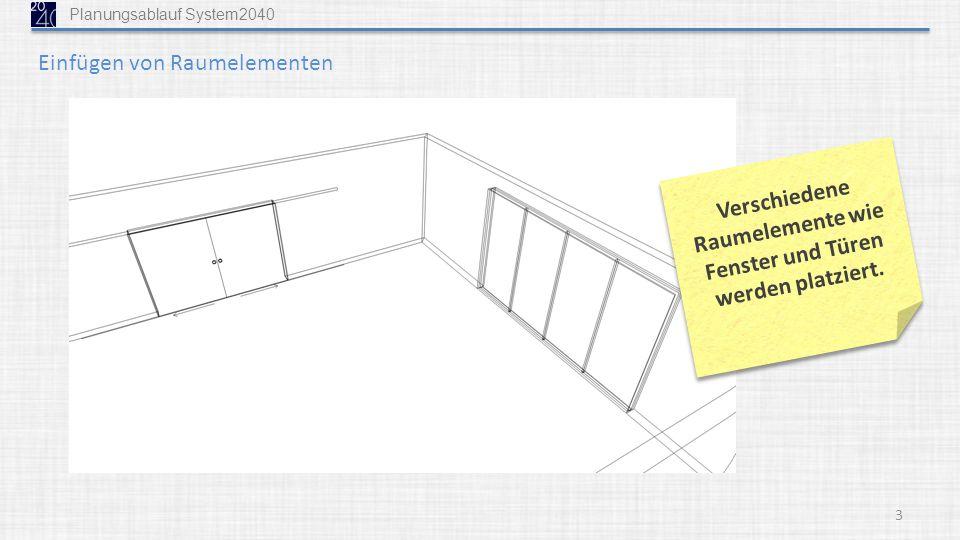 3 Verschiedene Raumelemente wie Fenster und Türen werden platziert. Einfügen von Raumelementen Planungsablauf System2040