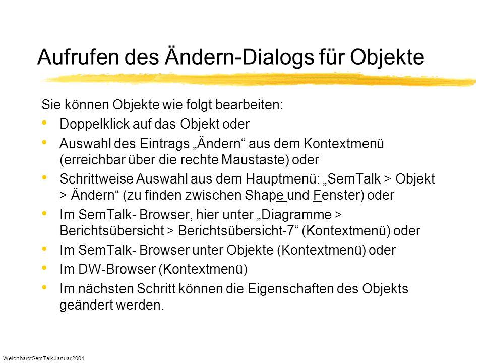 WeichhardtSemTalk Januar 2004 Aufrufen des Ändern-Dialogs für Objekte Sie können Objekte wie folgt bearbeiten: Doppelklick auf das Objekt oder Auswahl