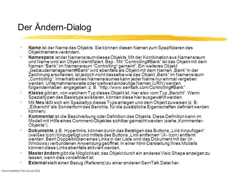 WeichhardtSemTalk Januar 2004 Der Ändern-Dialog Name ist der Name des Objekts. Sie können diesen Namen zum Spezifizieren des Objektnamens verändern. N