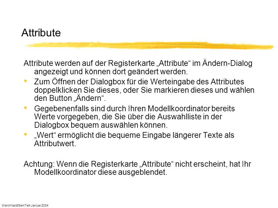 WeichhardtSemTalk Januar 2004 Attribute Attribute werden auf der Registerkarte Attribute im Ändern-Dialog angezeigt und können dort geändert werden. Z