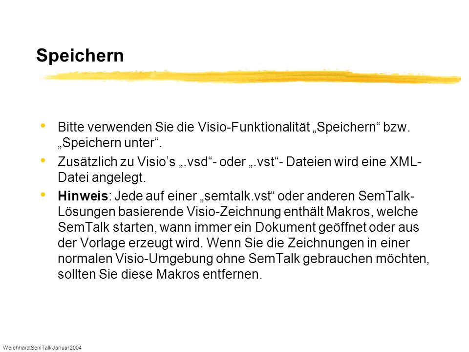 WeichhardtSemTalk Januar 2004 Speichern Bitte verwenden Sie die Visio-Funktionalität Speichern bzw. Speichern unter. Zusätzlich zu Visios.vsd- oder.vs