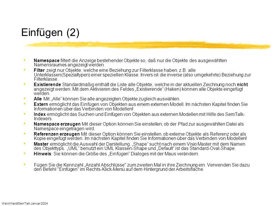 WeichhardtSemTalk Januar 2004 Einfügen (2) Namespace filtert die Anzeige bestehender Objekte so, daß nur die Objekte des ausgewählten Namensraumes ang