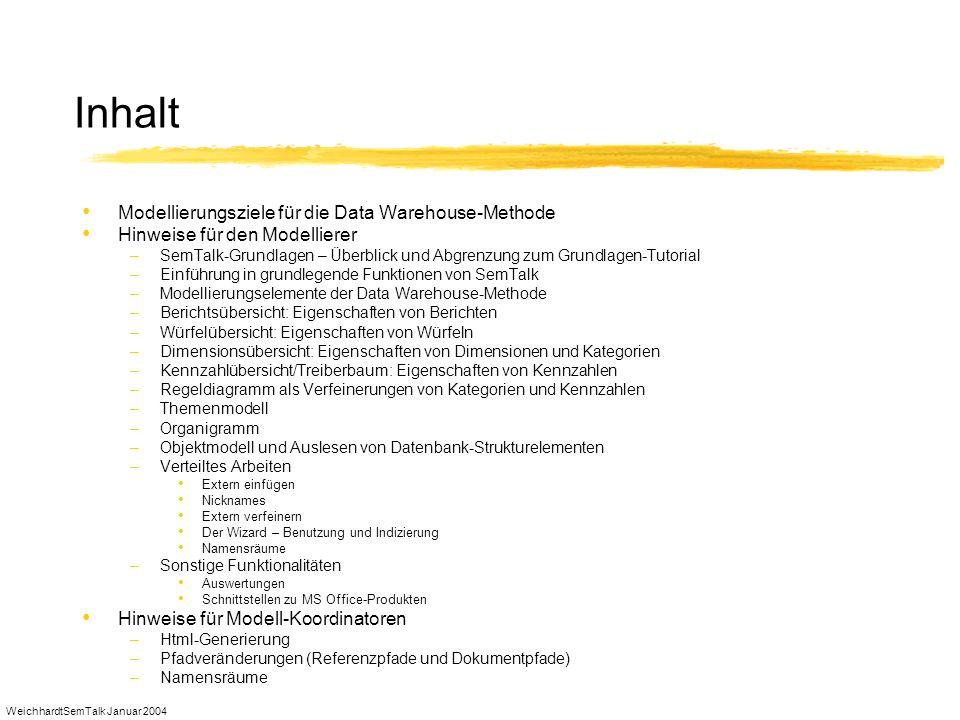 WeichhardtSemTalk Januar 2004 Inhalt Modellierungsziele für die Data Warehouse-Methode Hinweise für den Modellierer –SemTalk-Grundlagen – Überblick un