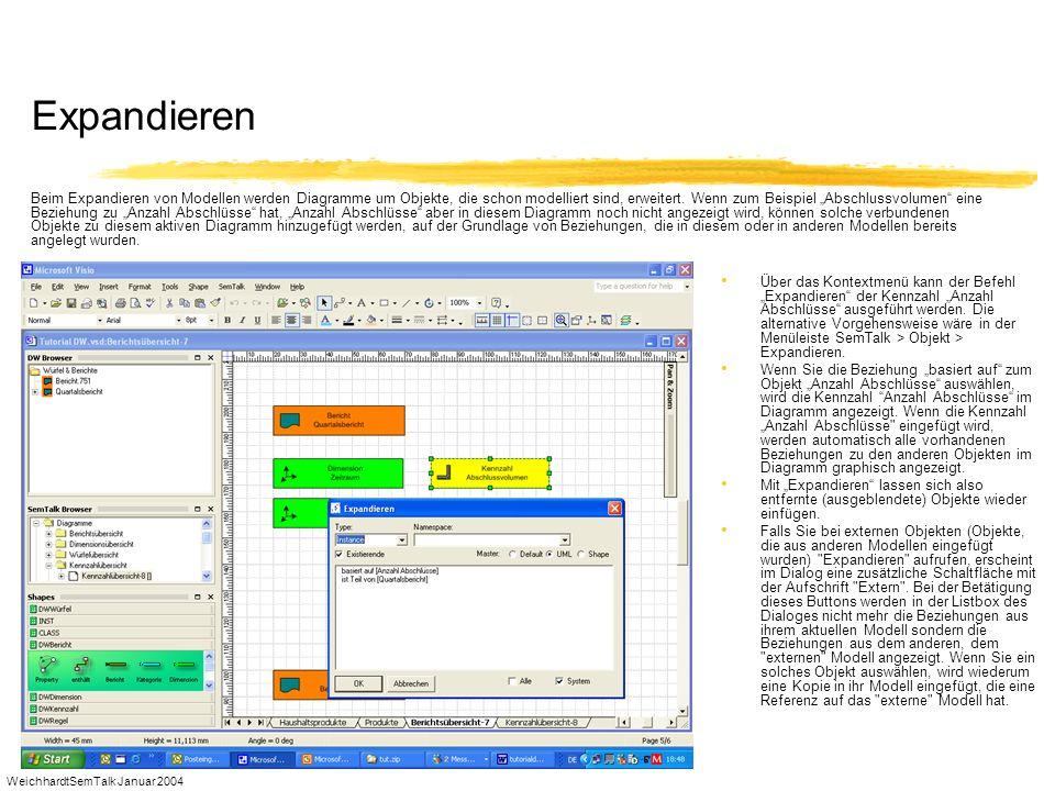 WeichhardtSemTalk Januar 2004 Expandieren Über das Kontextmenü kann der Befehl Expandieren der Kennzahl Anzahl Abschlüsse ausgeführt werden. Die alter