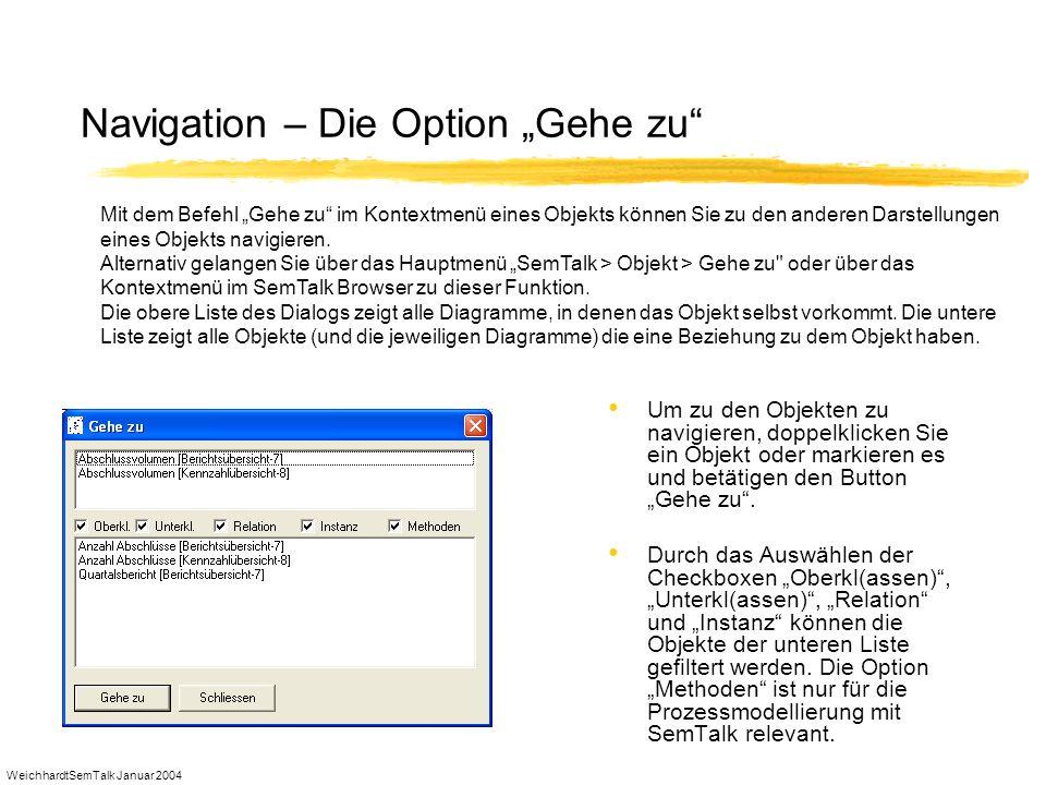 WeichhardtSemTalk Januar 2004 Navigation – Die Option Gehe zu Um zu den Objekten zu navigieren, doppelklicken Sie ein Objekt oder markieren es und bet
