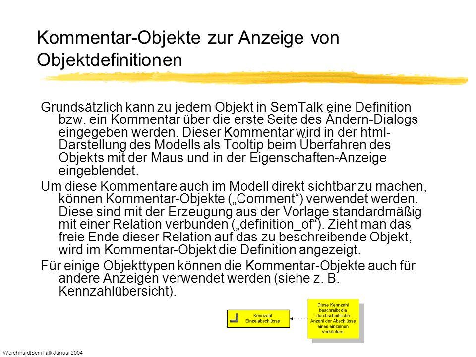 WeichhardtSemTalk Januar 2004 Kommentar-Objekte zur Anzeige von Objektdefinitionen Grundsätzlich kann zu jedem Objekt in SemTalk eine Definition bzw.