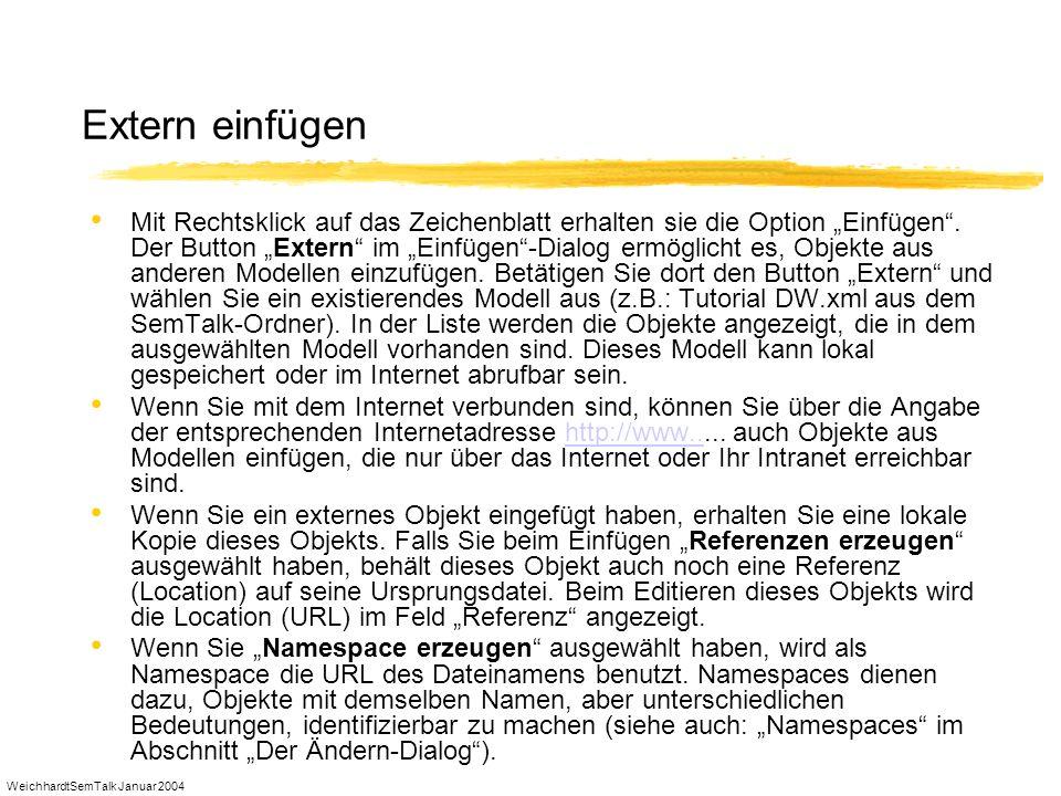 WeichhardtSemTalk Januar 2004 Extern einfügen Mit Rechtsklick auf das Zeichenblatt erhalten sie die Option Einfügen. Der Button Extern im Einfügen-Dia