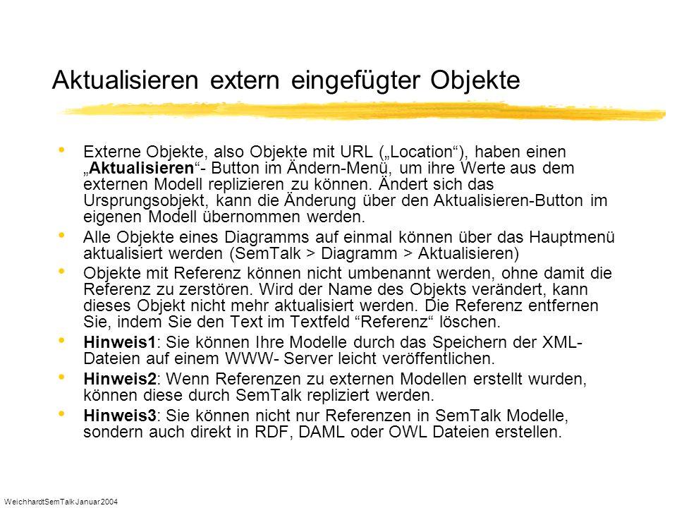 WeichhardtSemTalk Januar 2004 Aktualisieren extern eingefügter Objekte Externe Objekte, also Objekte mit URL (Location), haben einenAktualisieren- But