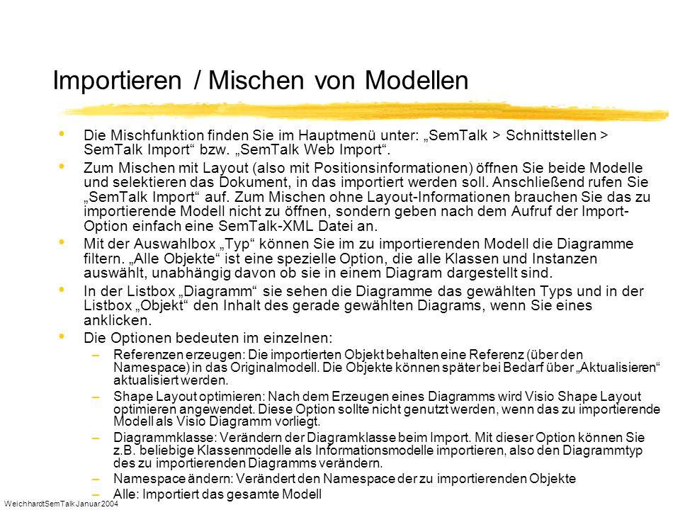 WeichhardtSemTalk Januar 2004 Importieren / Mischen von Modellen Die Mischfunktion finden Sie im Hauptmenü unter: SemTalk > Schnittstellen > SemTalk I