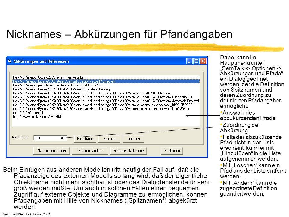WeichhardtSemTalk Januar 2004 Nicknames – Abkürzungen für Pfandangaben Beim Einfügen aus anderen Modellen tritt häufig der Fall auf, daß die Pfadanzei