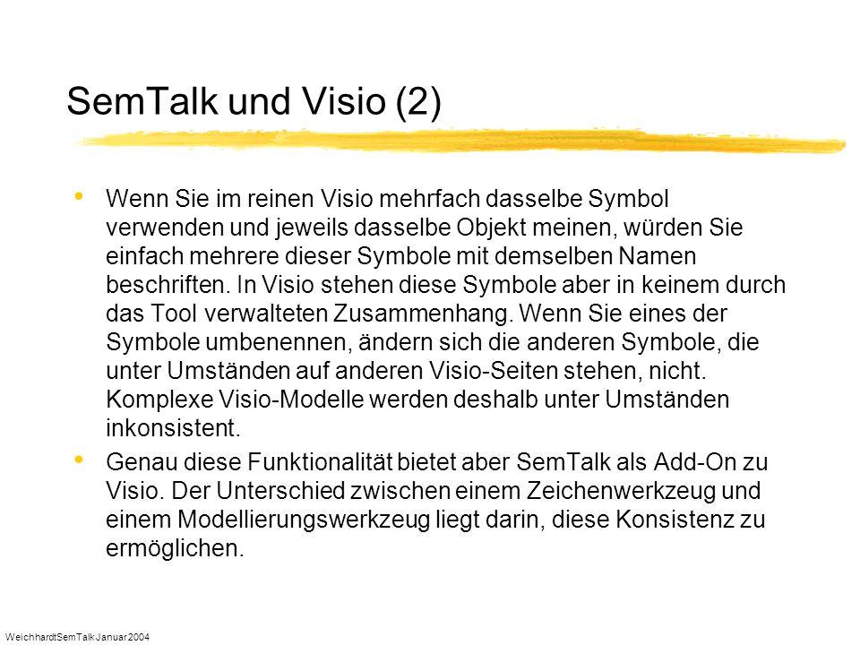 WeichhardtSemTalk Januar 2004 SemTalk und Visio (2) Wenn Sie im reinen Visio mehrfach dasselbe Symbol verwenden und jeweils dasselbe Objekt meinen, wü
