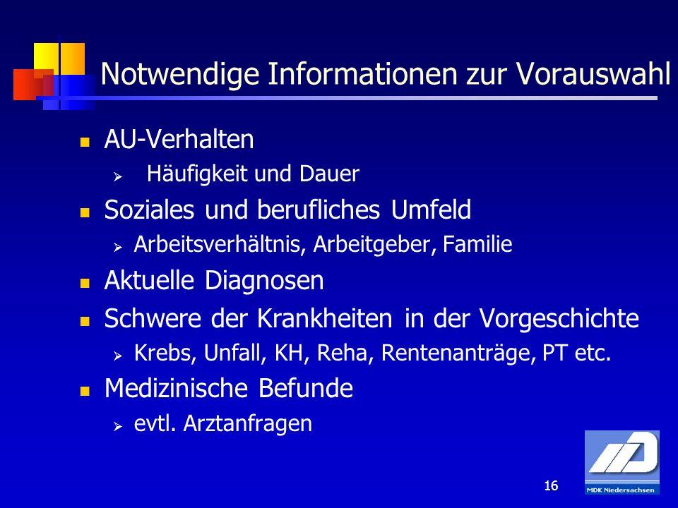16 Notwendige Informationen zur Vorauswahl AU-Verhalten Häufigkeit und Dauer Soziales und berufliches Umfeld Arbeitsverhältnis, Arbeitgeber, Familie A