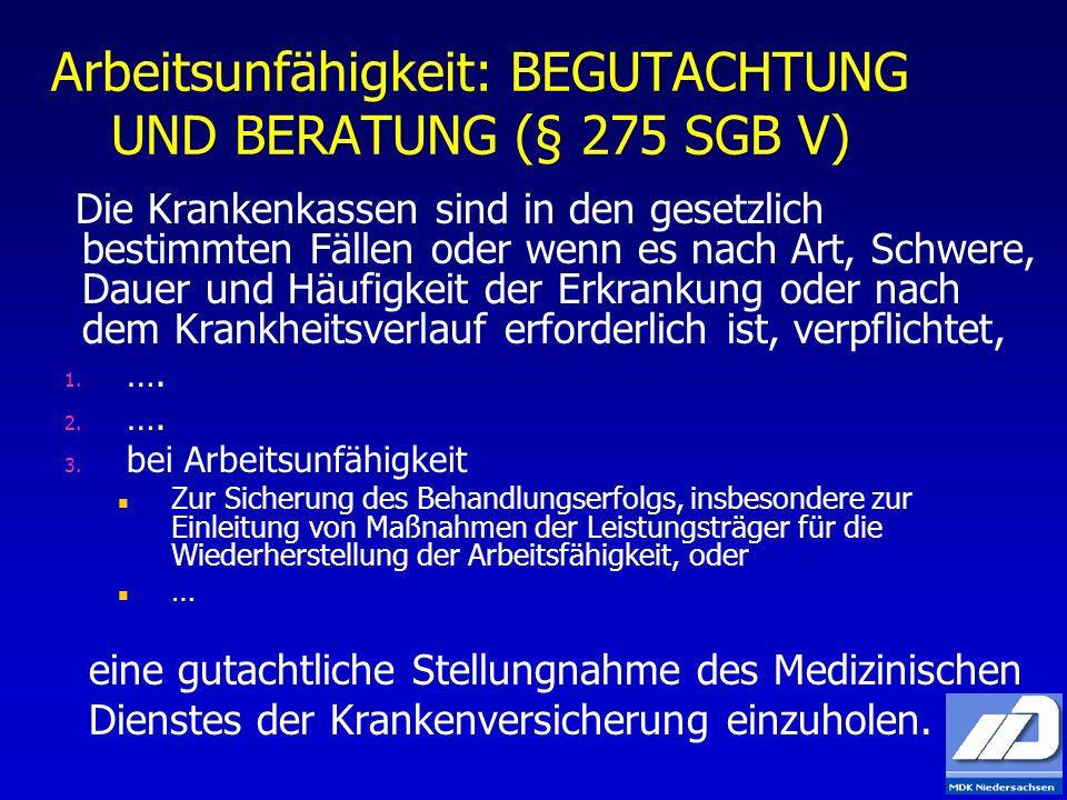 Arbeitsunfähigkeit: BEGUTACHTUNG UND BERATUNG (§ 275 SGB V) Die Krankenkassen sind in den gesetzlich bestimmten Fällen oder wenn es nach Art, Schwere,