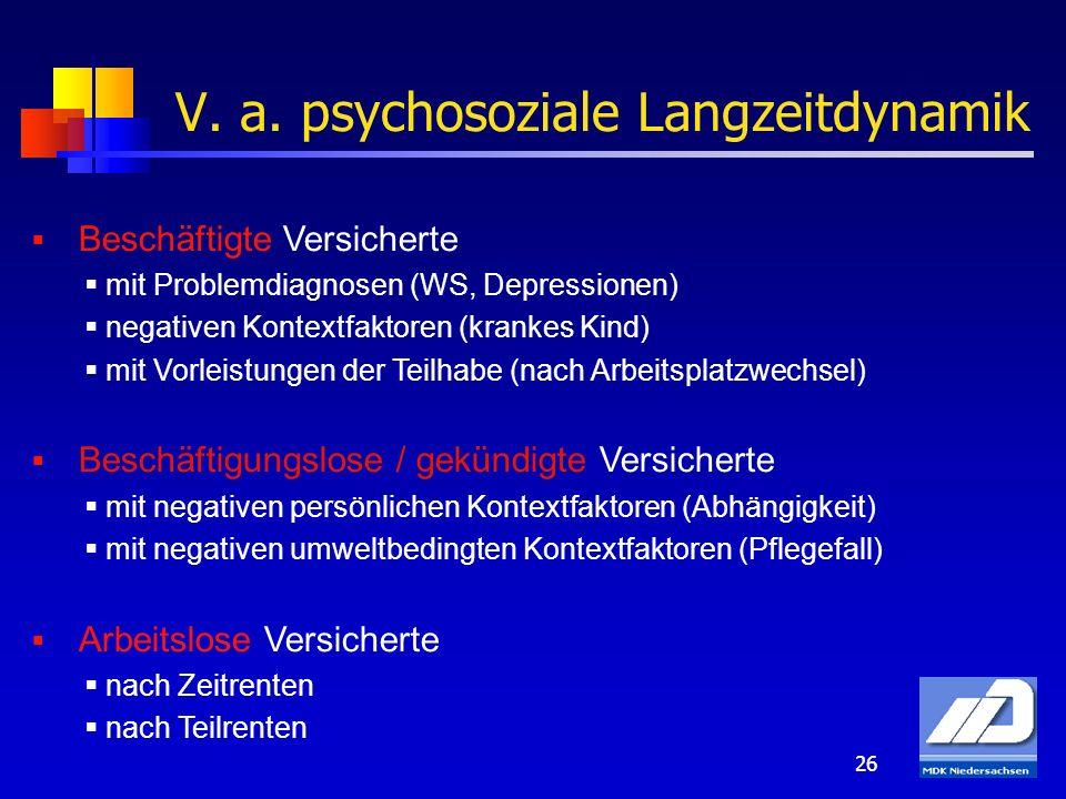26 V. a. psychosoziale Langzeitdynamik Beschäftigte Versicherte mit Problemdiagnosen (WS, Depressionen) negativen Kontextfaktoren (krankes Kind) mit V