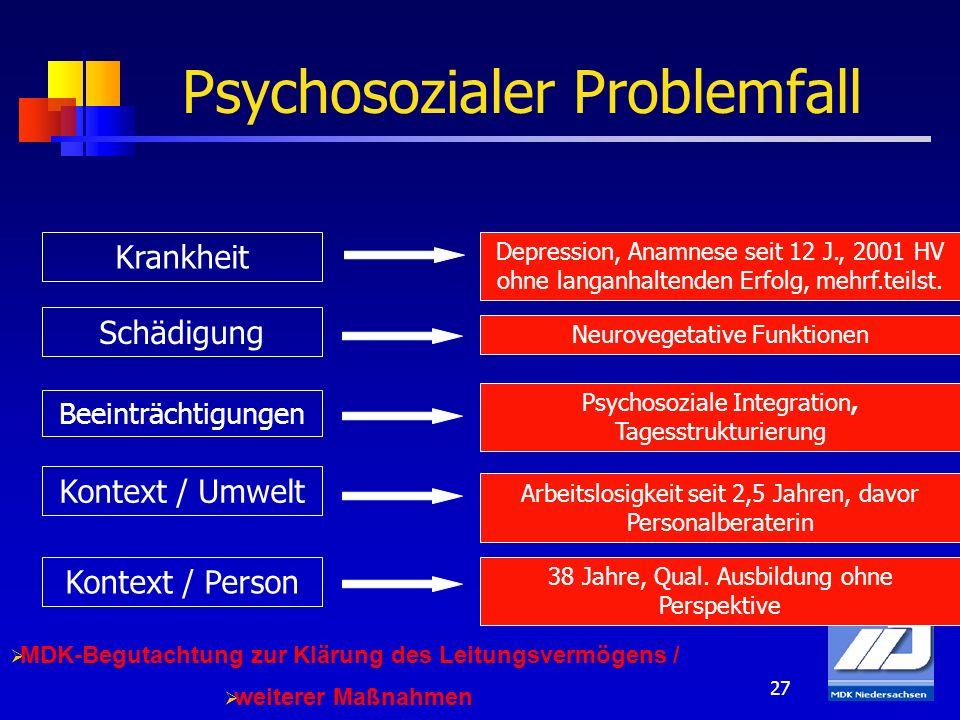 27 Psychosozialer Problemfall Depression, Anamnese seit 12 J., 2001 HV ohne langanhaltenden Erfolg, mehrf.teilst. Neurovegetative Funktionen Psychosoz