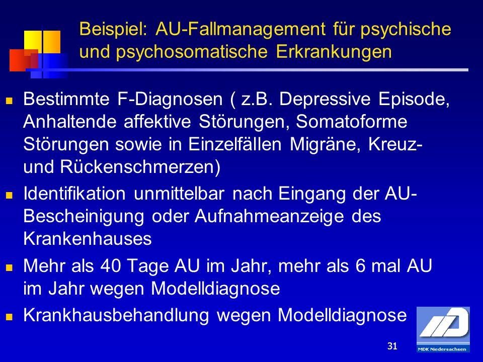 31 Bestimmte F-Diagnosen ( z.B. Depressive Episode, Anhaltende affektive Störungen, Somatoforme Störungen sowie in Einzelfällen Migräne, Kreuz- und Rü