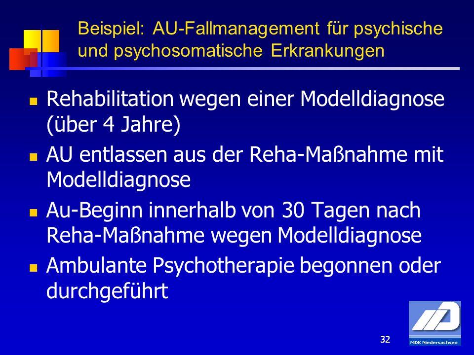 32 Rehabilitation wegen einer Modelldiagnose (über 4 Jahre) AU entlassen aus der Reha-Maßnahme mit Modelldiagnose Au-Beginn innerhalb von 30 Tagen nac