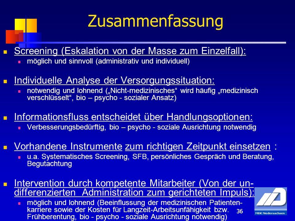 36 Zusammenfassung Screening (Eskalation von der Masse zum Einzelfall): möglich und sinnvoll (administrativ und individuell) Individuelle Analyse der