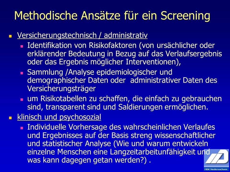 Methodische Ansätze für ein Screening Versicherungstechnisch / administrativ Identifikation von Risikofaktoren (von ursächlicher oder erklärender Bede