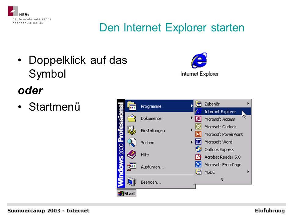 Den Internet Explorer starten Doppelklick auf das Symbol oder Startmenü Summercamp 2003 - Internet Einführung
