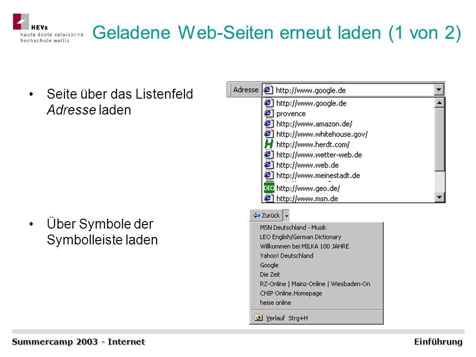Geladene Web-Seiten erneut laden (1 von 2) Seite über das Listenfeld Adresse laden Über Symbole der Symbolleiste laden Summercamp 2003 - Internet Einf