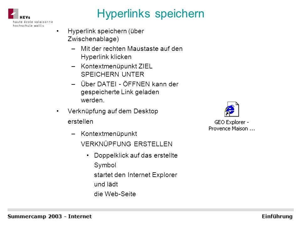 Hyperlinks speichern Hyperlink speichern (über Zwischenablage) –Mit der rechten Maustaste auf den Hyperlink klicken –Kontextmenüpunkt ZIEL SPEICHERN U