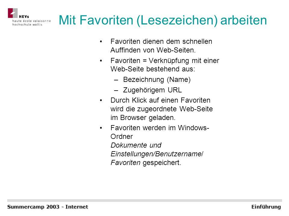 Mit Favoriten (Lesezeichen) arbeiten Favoriten dienen dem schnellen Auffinden von Web-Seiten. Favoriten = Verknüpfung mit einer Web-Seite bestehend au