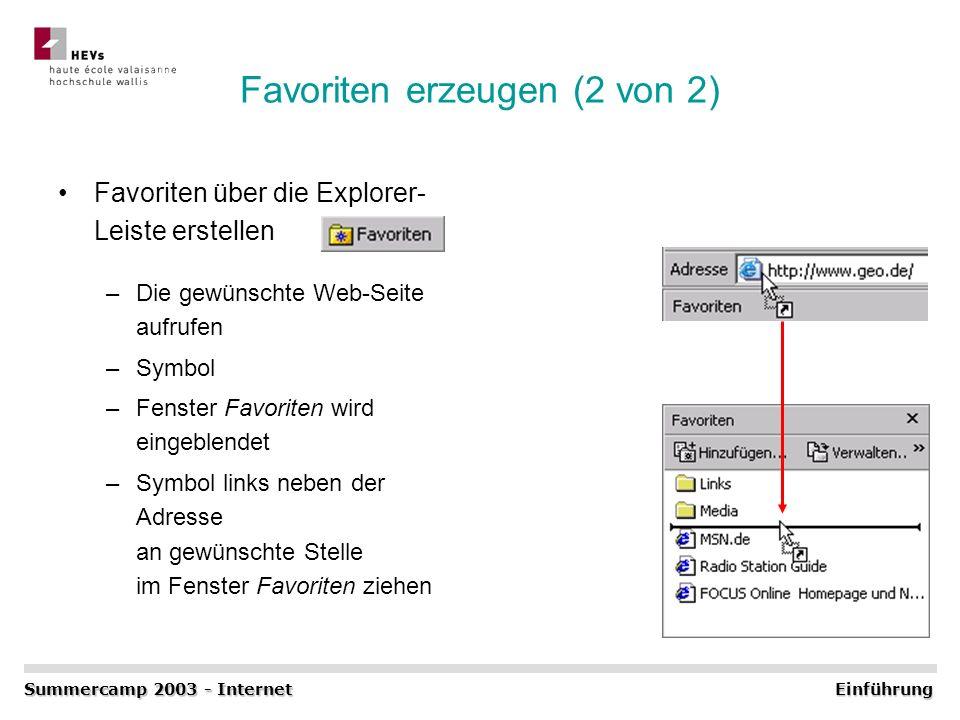 Favoriten erzeugen (2 von 2) Favoriten über die Explorer- Leiste erstellen –Die gewünschte Web-Seite aufrufen –Symbol –Fenster Favoriten wird eingeble