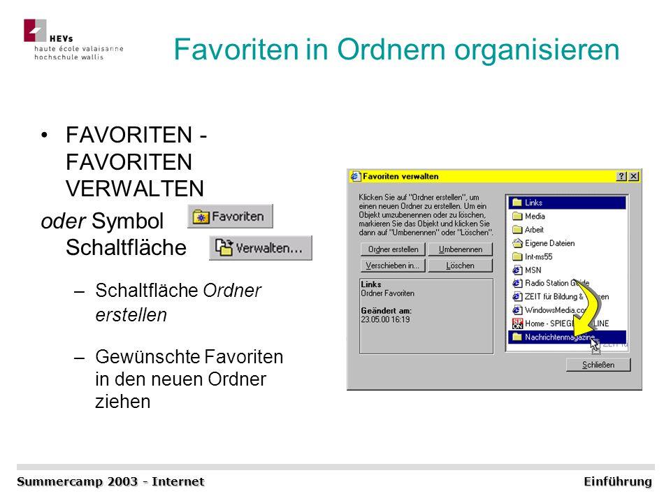 Favoriten in Ordnern organisieren FAVORITEN - FAVORITEN VERWALTEN oder Symbol Schaltfläche –Schaltfläche Ordner erstellen –Gewünschte Favoriten in den