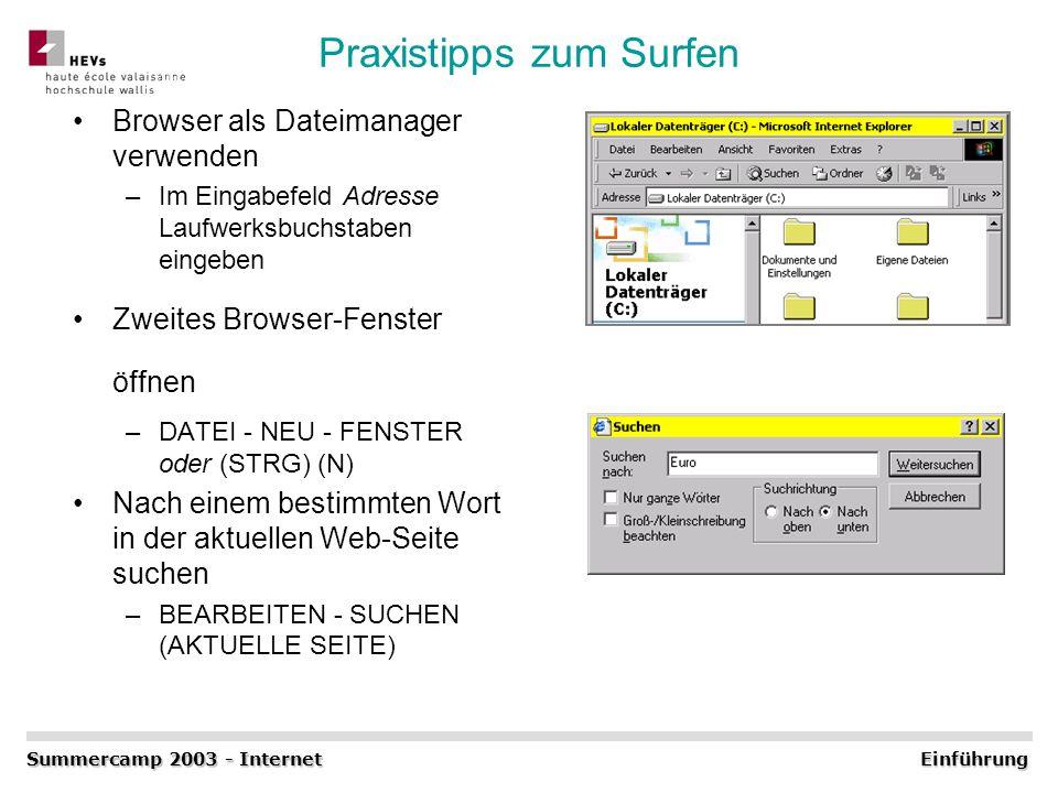 Praxistipps zum Surfen Browser als Dateimanager verwenden –Im Eingabefeld Adresse Laufwerksbuchstaben eingeben Zweites Browser-Fenster öffnen –DATEI -