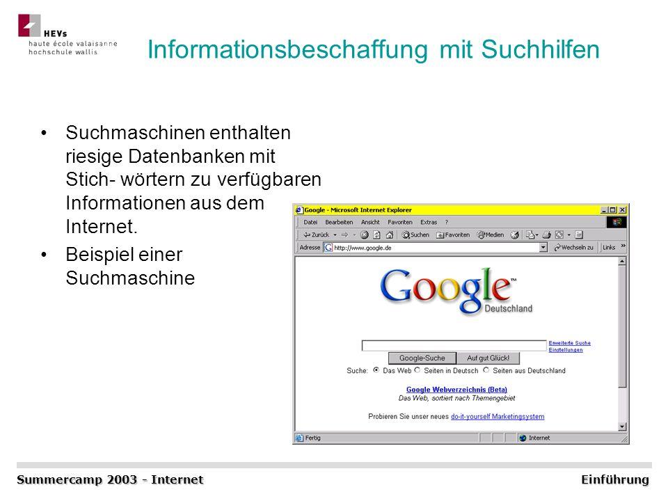 Informationsbeschaffung mit Suchhilfen Suchmaschinen enthalten riesige Datenbanken mit Stich- wörtern zu verfügbaren Informationen aus dem Internet. B