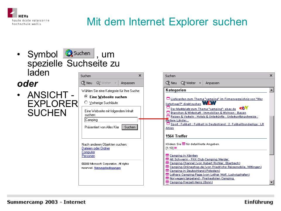 Mit dem Internet Explorer suchen Symbol, um spezielle Suchseite zu laden oder ANSICHT - EXPLORERLEISTE - SUCHEN Summercamp 2003 - Internet Einführung