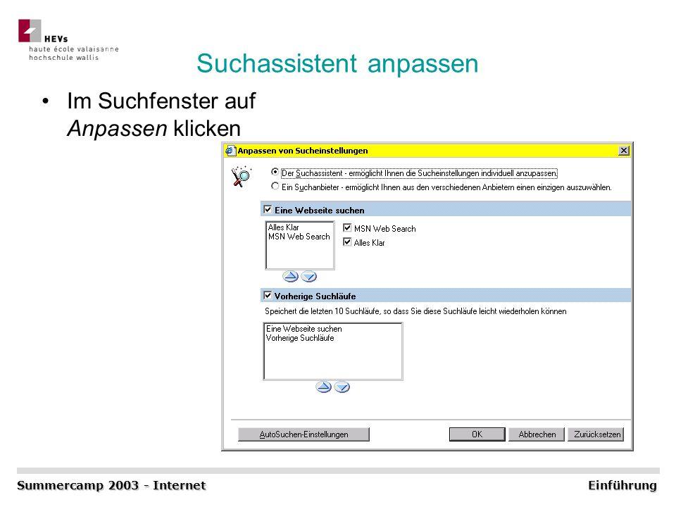 Suchassistent anpassen Im Suchfenster auf Anpassen klicken Summercamp 2003 - Internet Einführung