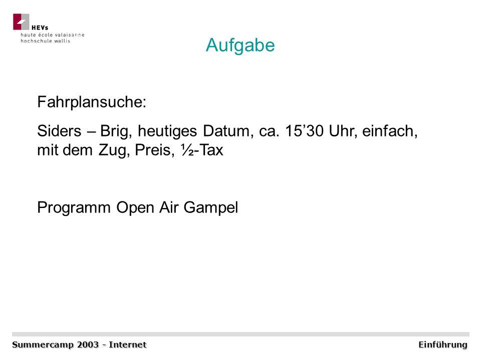 Aufgabe Summercamp 2003 - Internet Einführung Fahrplansuche: Siders – Brig, heutiges Datum, ca. 1530 Uhr, einfach, mit dem Zug, Preis, ½-Tax Programm