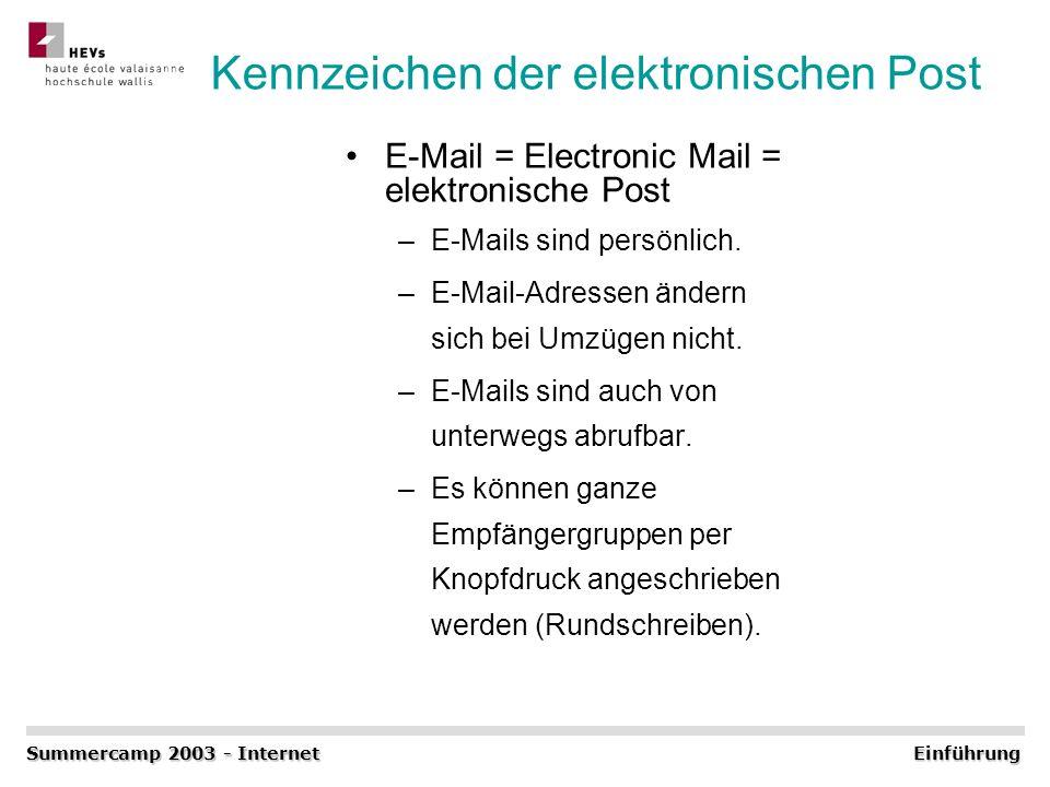 Kennzeichen der elektronischen Post E-Mail = Electronic Mail = elektronische Post –E-Mails sind persönlich. –E-Mail-Adressen ändern sich bei Umzügen n