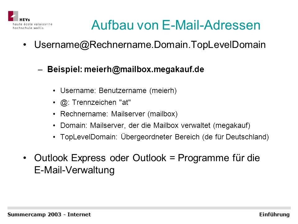 Aufbau von E-Mail-Adressen Username@Rechnername.Domain.TopLevelDomain –Beispiel: meierh@mailbox.megakauf.de Username: Benutzername (meierh) @: Trennze