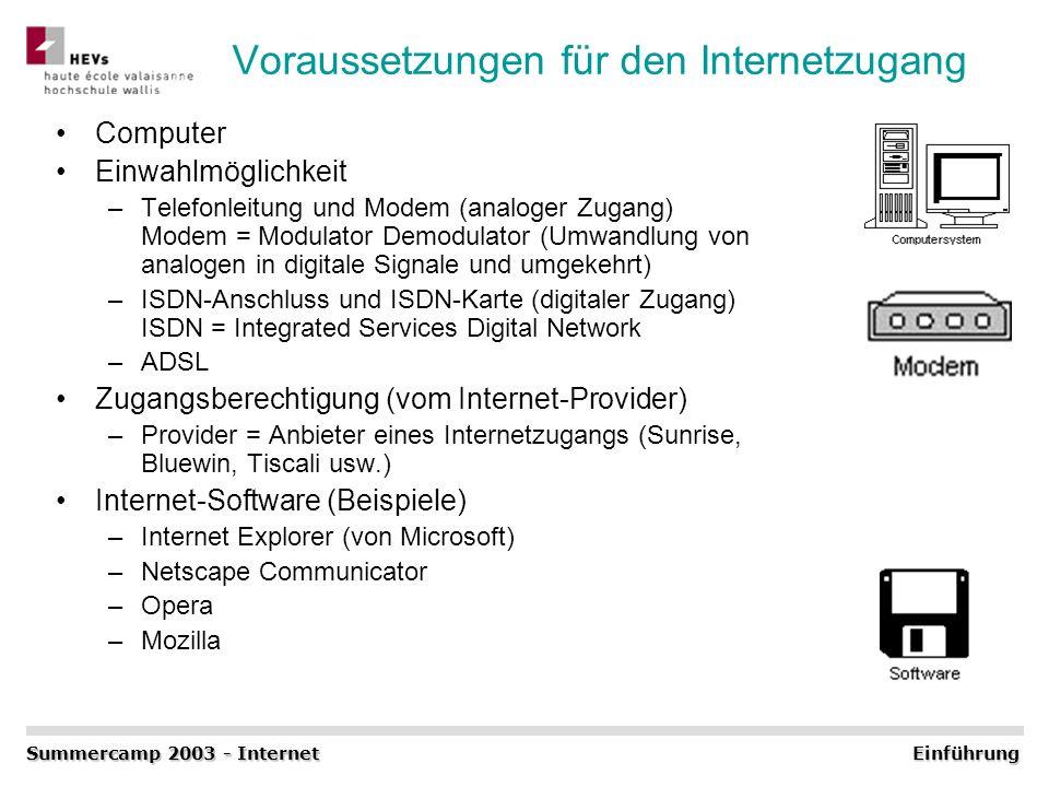 Voraussetzungen für den Internetzugang Computer Einwahlmöglichkeit –Telefonleitung und Modem (analoger Zugang) Modem = Modulator Demodulator (Umwandlu