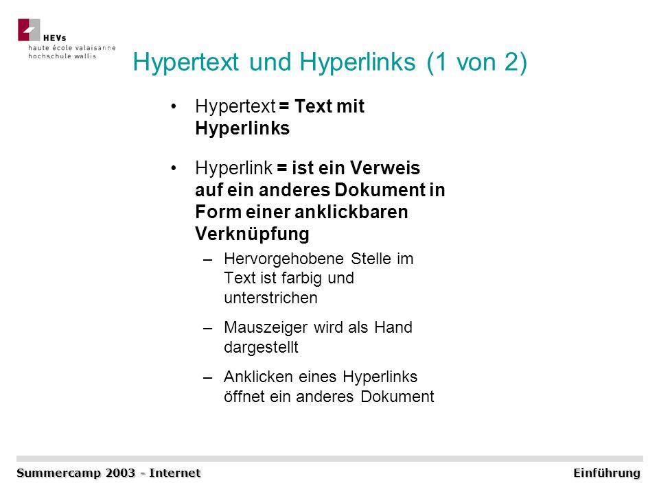 Hypertext und Hyperlinks (1 von 2) Hypertext = Text mit Hyperlinks Hyperlink = ist ein Verweis auf ein anderes Dokument in Form einer anklickbaren Ver