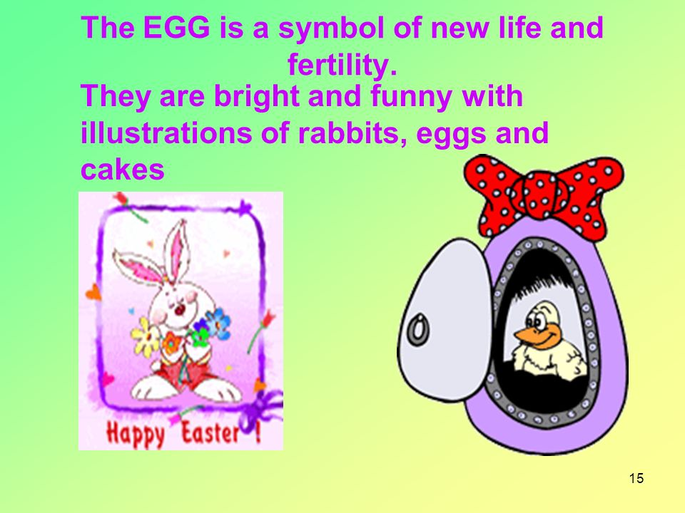 15 The EGG is a symbol of new life and fertility.