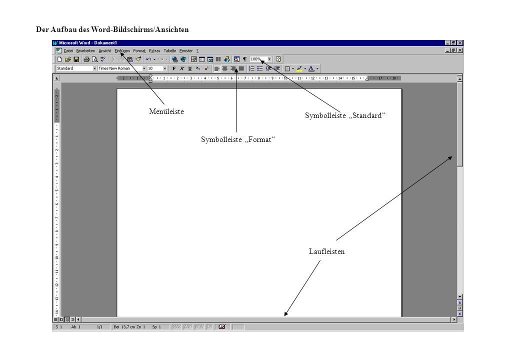Der Aufbau des Word-Bildschirms/Ansichten Menüleiste Symbolleiste Standard Symbolleiste Format Laufleisten