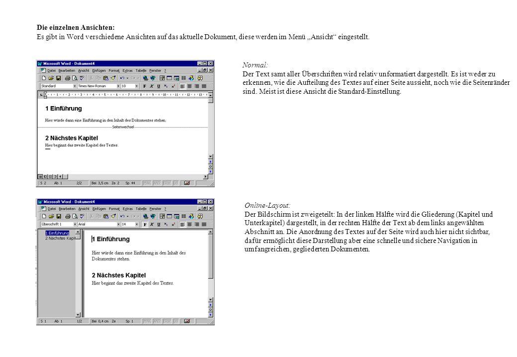 Die einzelnen Ansichten: Es gibt in Word verschiedene Ansichten auf das aktuelle Dokument, diese werden im Menü Ansicht eingestellt. Normal: Der Text